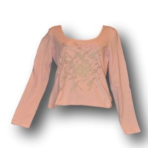 Iceberg Jeans Womens Pink Long Sleeve Cutout Top